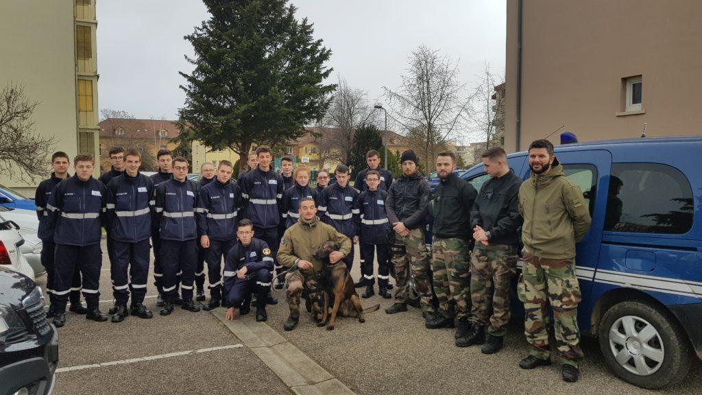 Les élèves de 2nde Métiers de la Sécurité en visite au groupement de Gendarmerie Nationale du Haut-Rhin